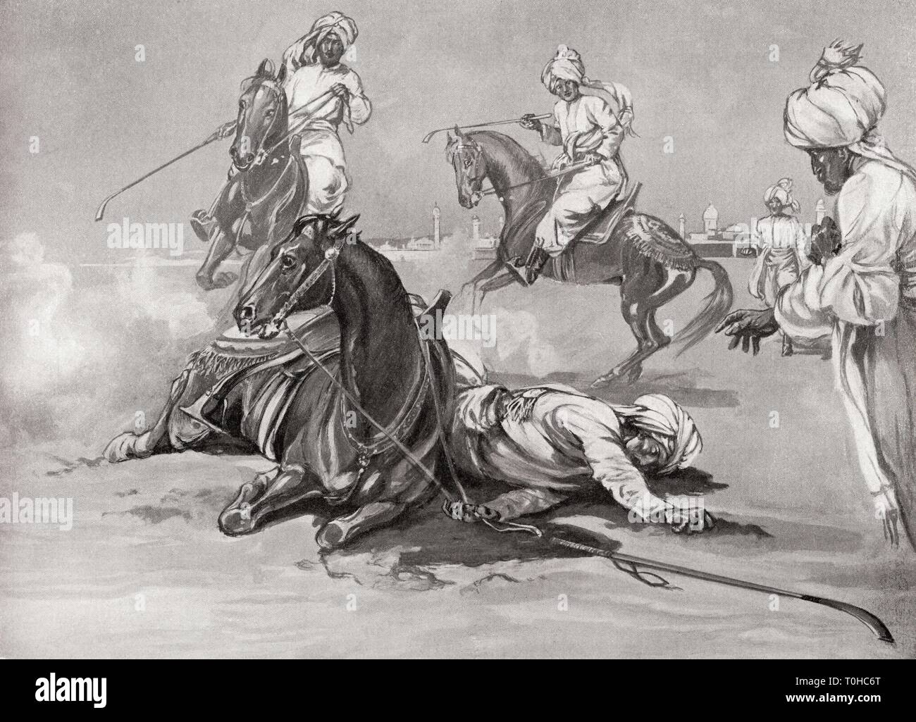 death of Qutb al Din Aibak result of fall from horse while playing Chaugan - Stock Image
