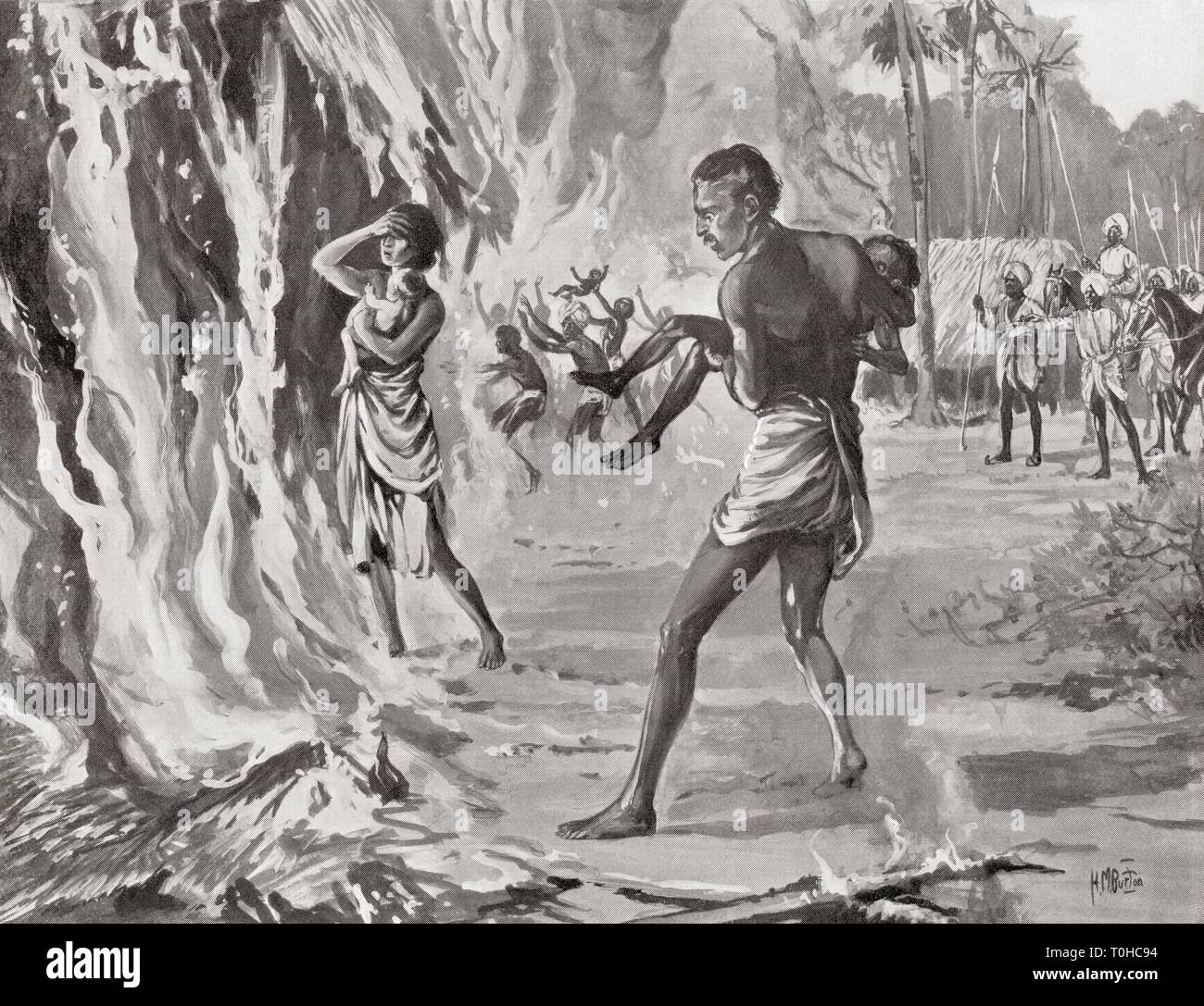 Villagers in India sacrificing themselves on fire to avoid cruel raiding Pindaris - Stock Image