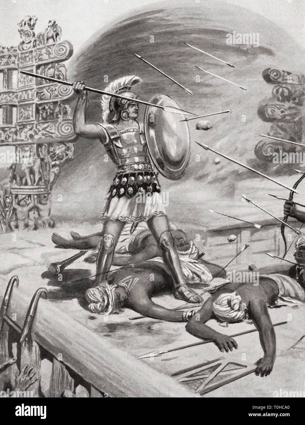 Alexander the Great fighting Assacani at fortified city of Massage, India - Stock Image