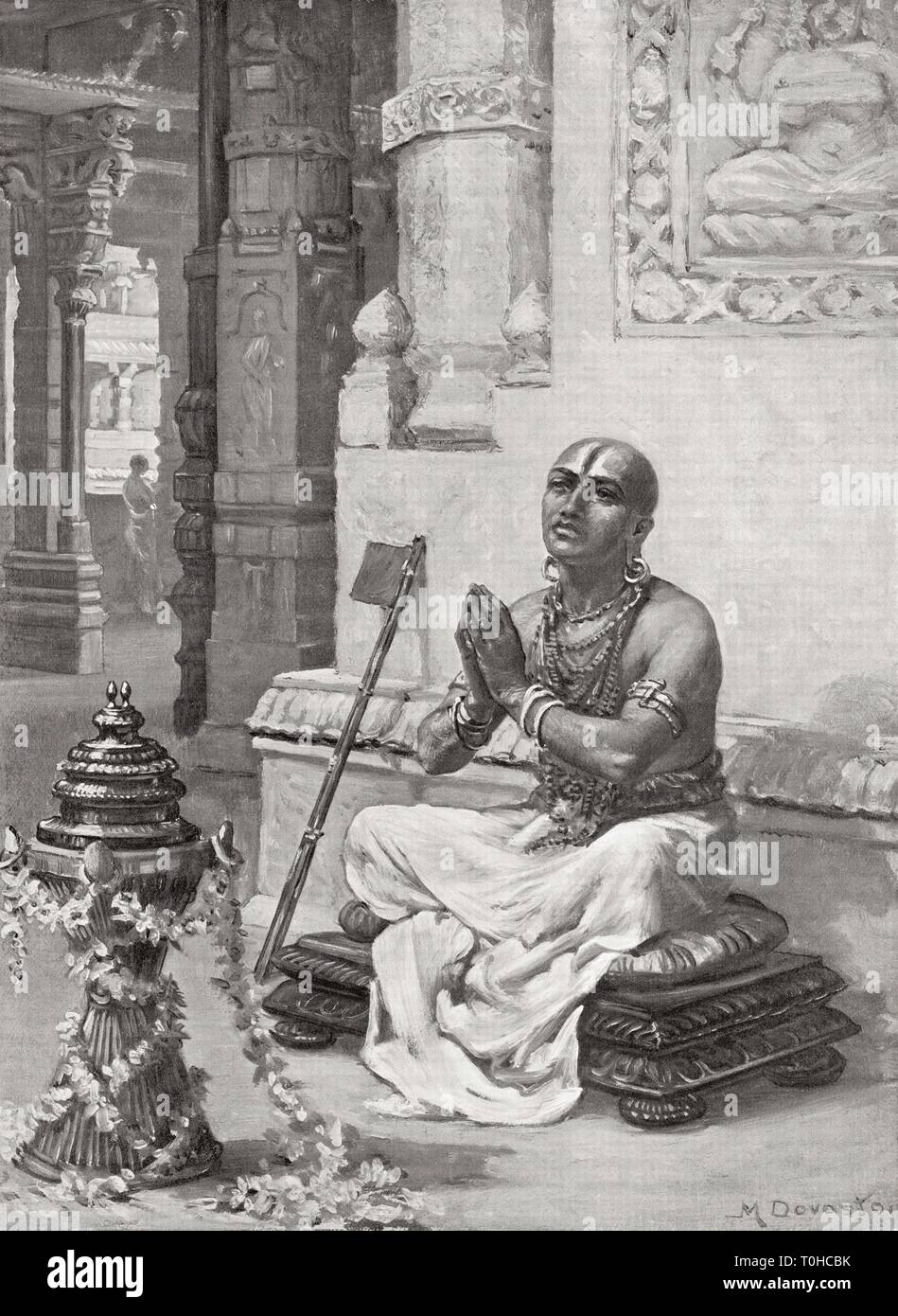 Ramanuja contemplating his philosophy of one personal God Vishnu in 1100 AD - Stock Image