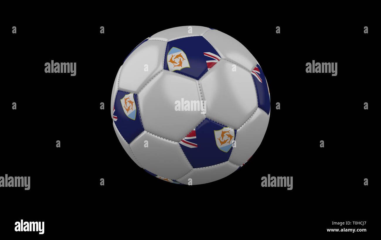 Soccer ball with flag Anguilla colors rotates on black background, 3d rendering - Stock Image
