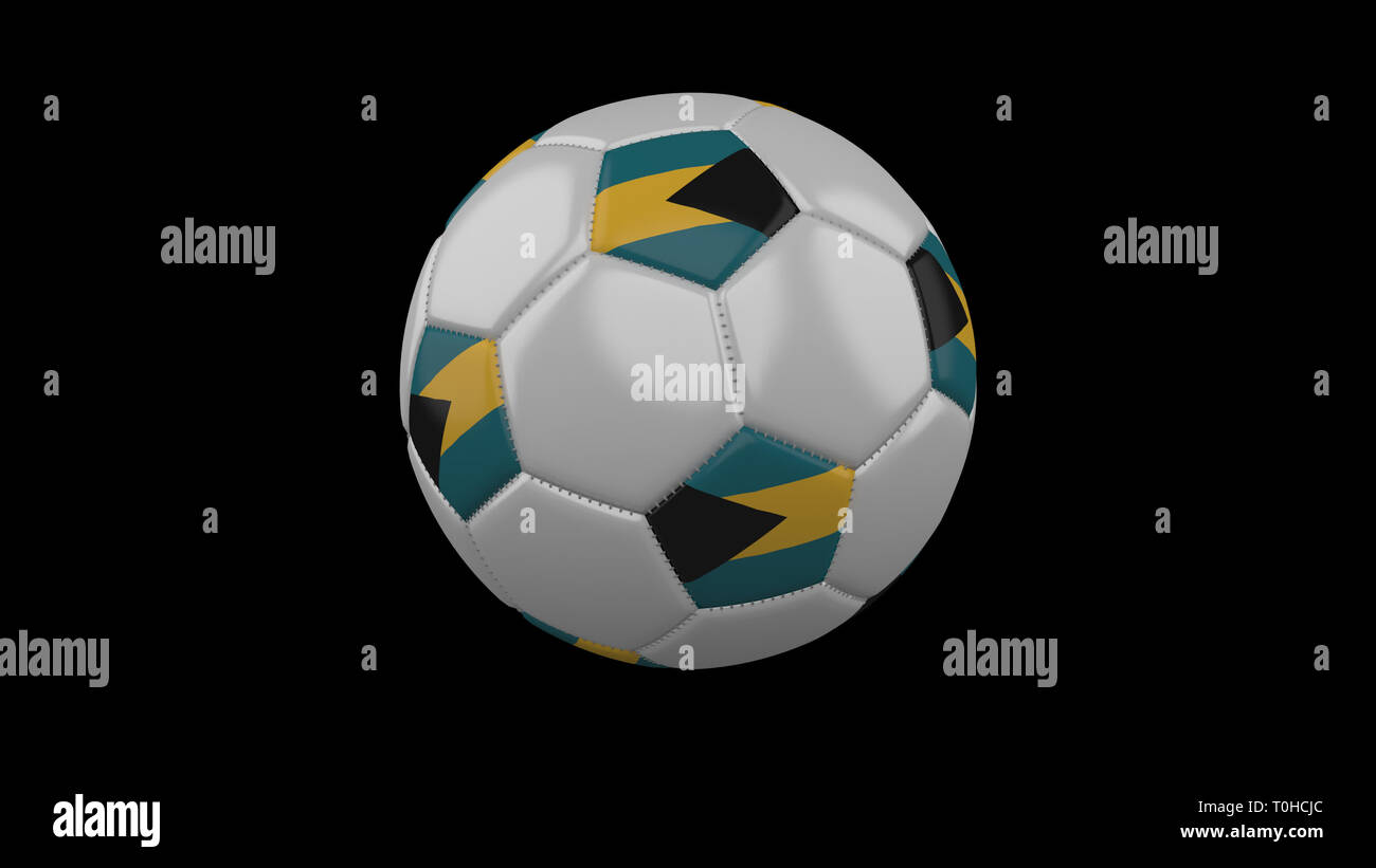 Soccer ball with flag Bahamas colors rotates on black background, 3d rendering - Stock Image