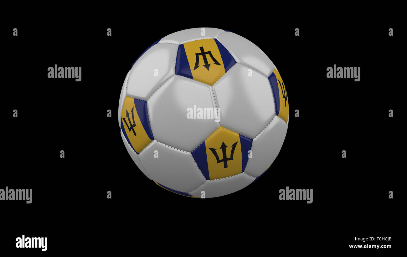 Soccer ball with flag Barbados colors rotates on black background, 3d rendering - Stock Image