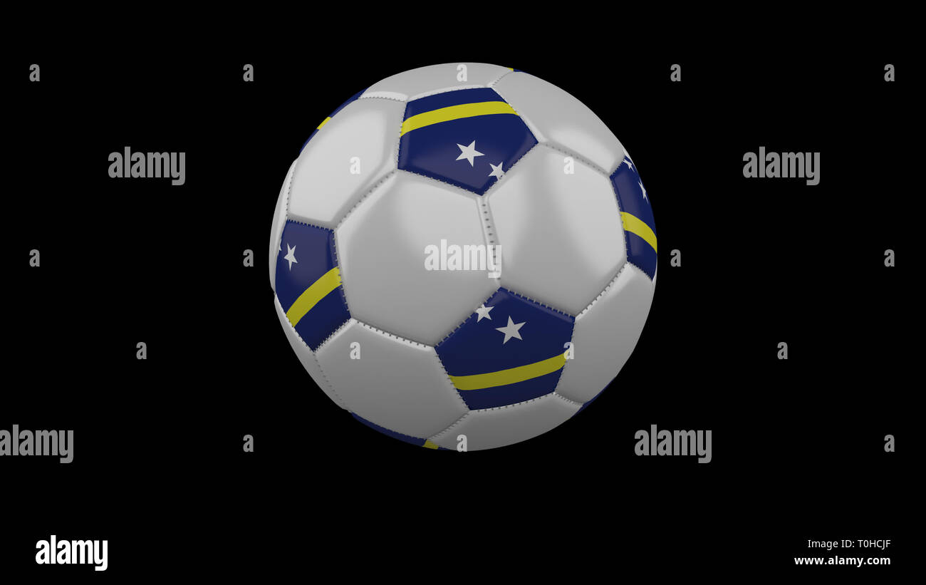 Soccer ball with flag Curacao colors rotates on black background, 3d rendering - Stock Image