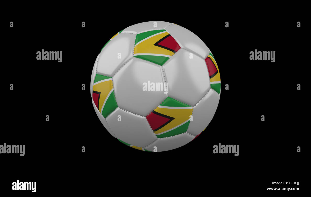 Soccer ball with flag Guyana colors rotates on black background, 3d rendering - Stock Image