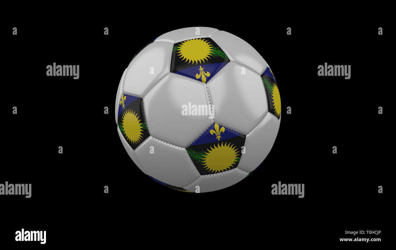 Soccer ball with flag Guadeloupe colors rotates on black background, 3d rendering - Stock Image