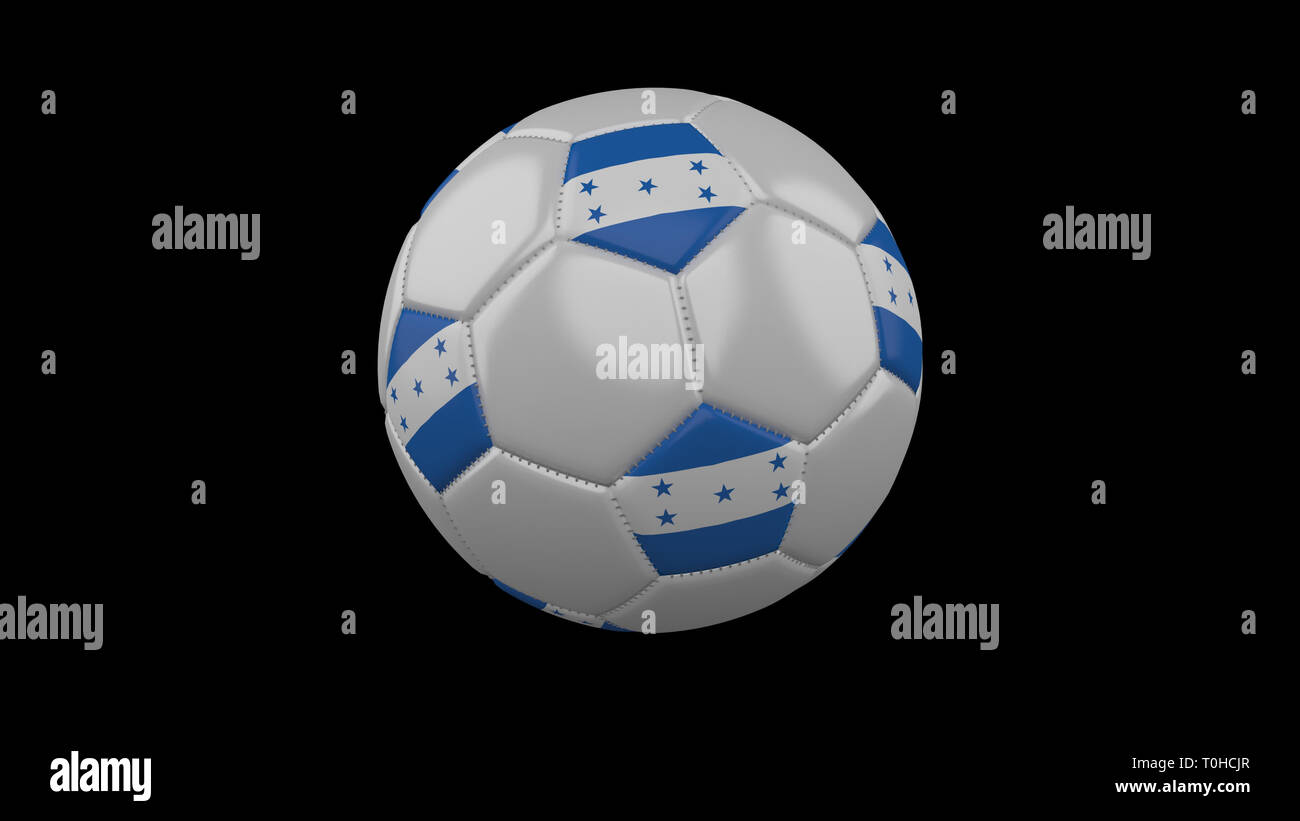 Soccer ball with flag Honduras colors rotates on black background, 3d rendering - Stock Image