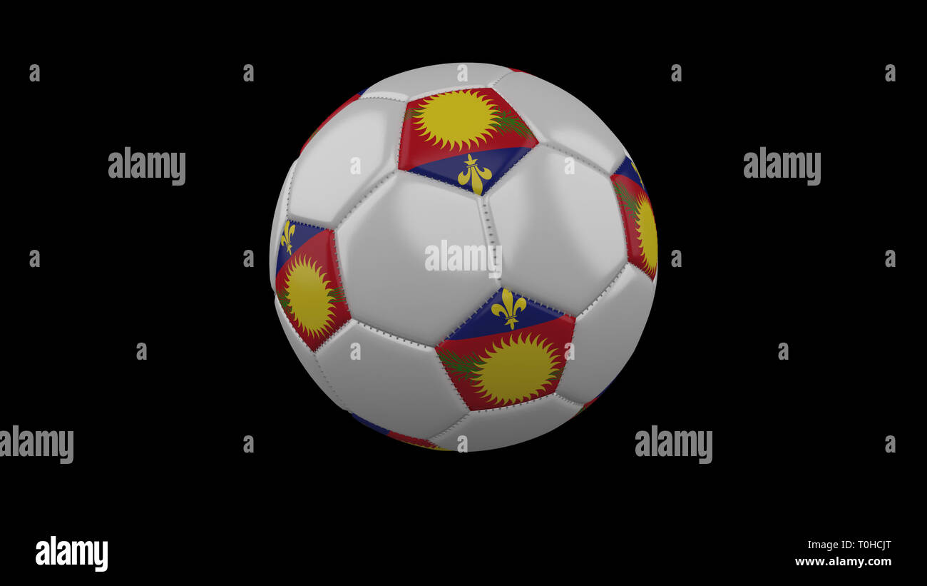 Soccer ball with variant flag Guadeloupe colors rotates on black background, 3d rendering - Stock Image