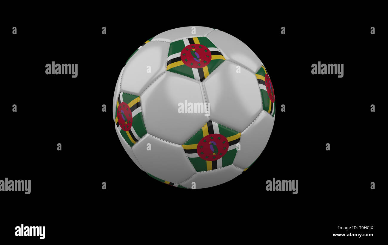 Soccer ball with flag Dominica colors rotates on black background, 3d rendering - Stock Image