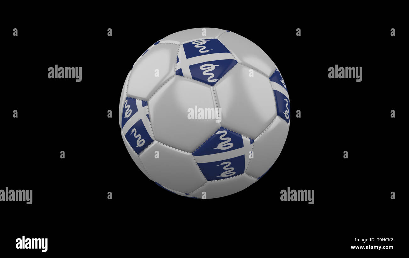 Soccer ball with flag Martinique colors rotates on black background, 3d rendering - Stock Image