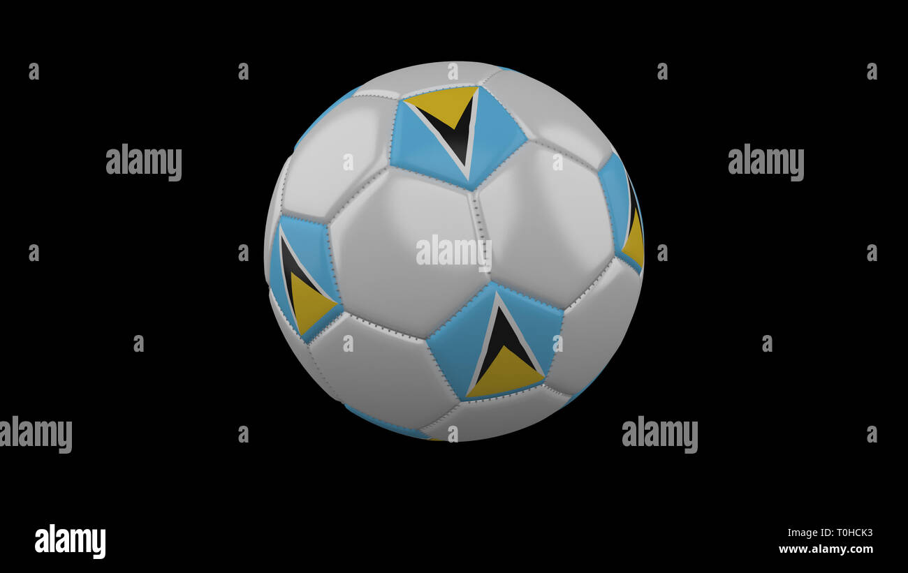 Soccer ball with flag Saint Lucia colors rotates on black background, 3d rendering - Stock Image