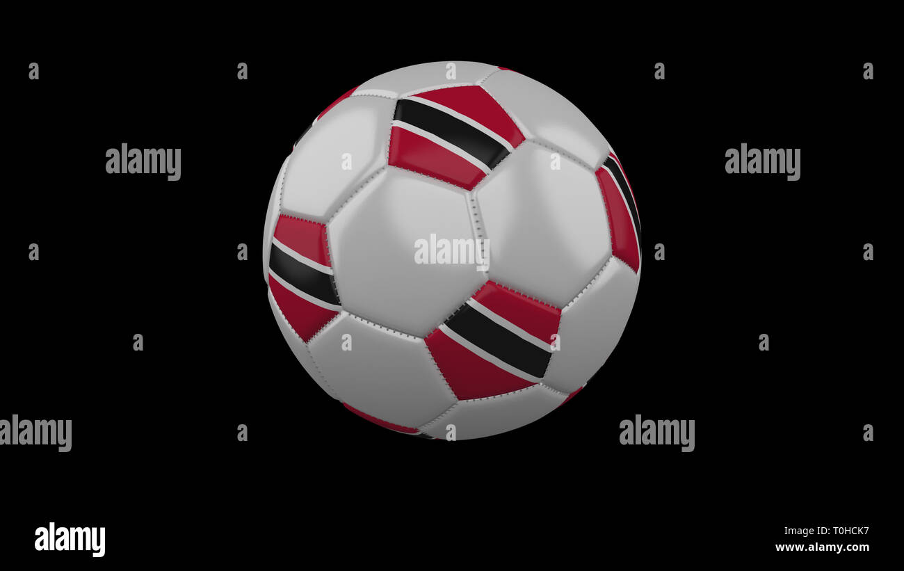 Soccer ball with flag Trinidad and Tobago colors rotates on black background, 3d rendering - Stock Image