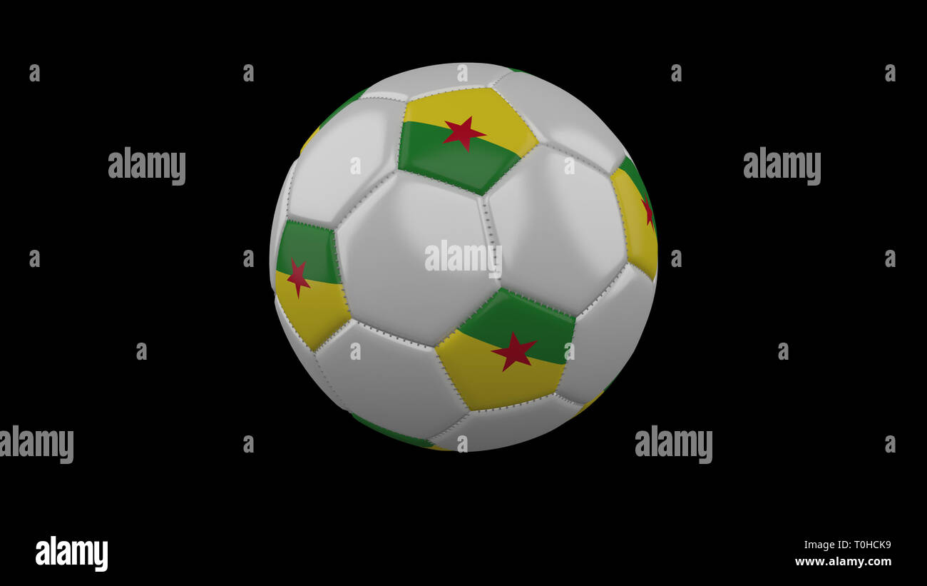 Soccer ball with flag French Guiana colors rotates on black background, 3d rendering - Stock Image