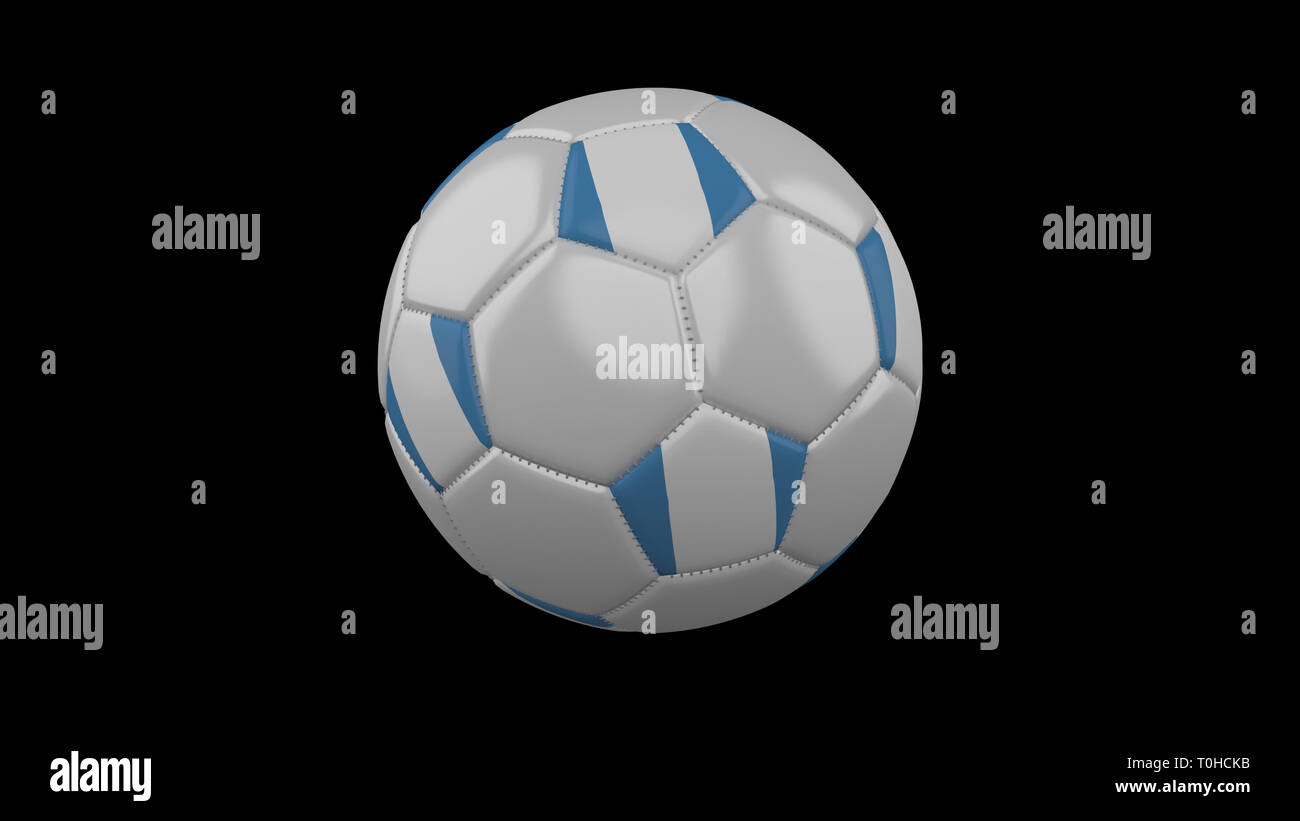 Soccer ball with flag Guatemala colors rotates on black background, 3d rendering - Stock Image