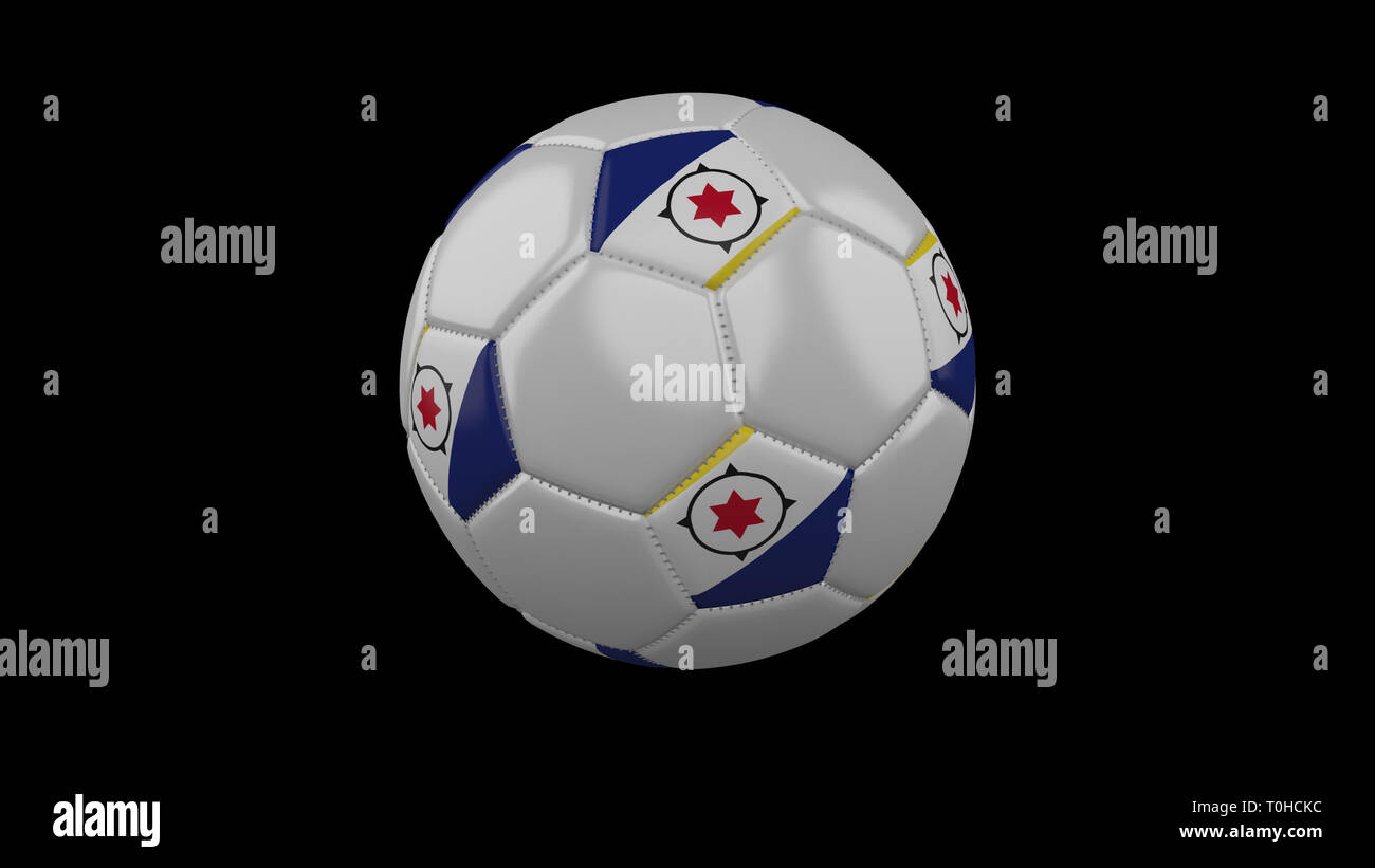 Soccer ball with flag Bonaire colors rotates on black background, 3d rendering - Stock Image