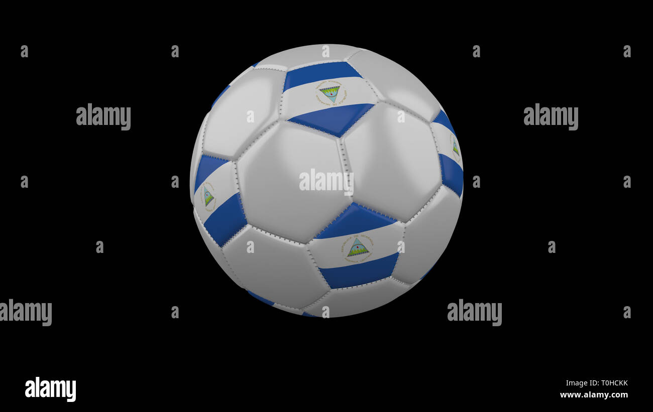 Soccer ball with flag Nicaragua colors rotates on black background, 3d rendering - Stock Image