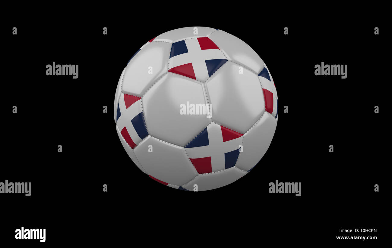 Soccer ball with flag Dominican colors rotates on black background, 3d rendering - Stock Image