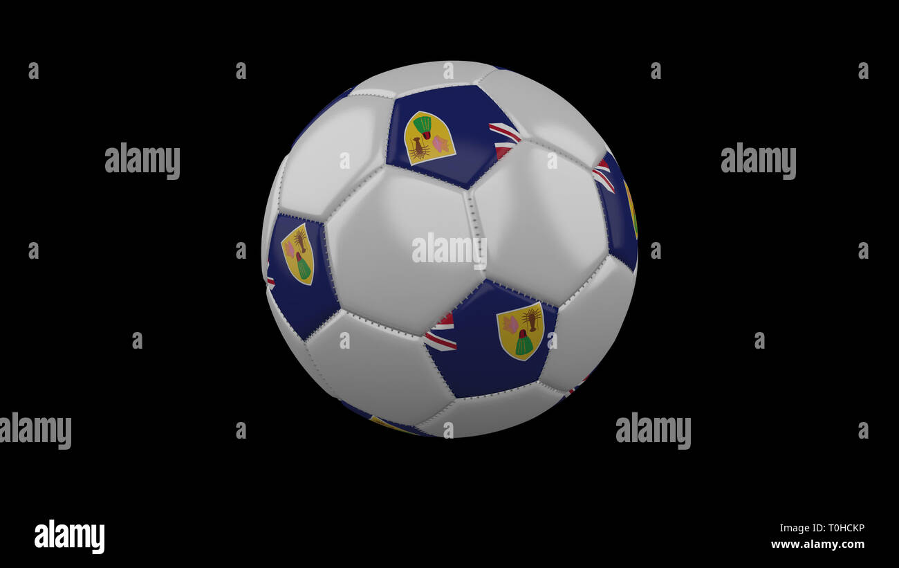 Soccer ball with flag Turks and Caicos colors rotates on black background, 3d rendering - Stock Image