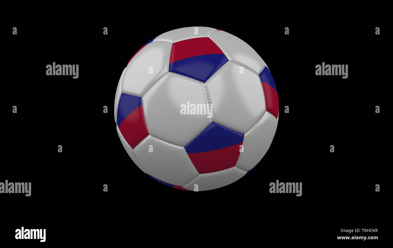 Soccer ball with flag Haiti colors rotates on black background, 3d rendering - Stock Image