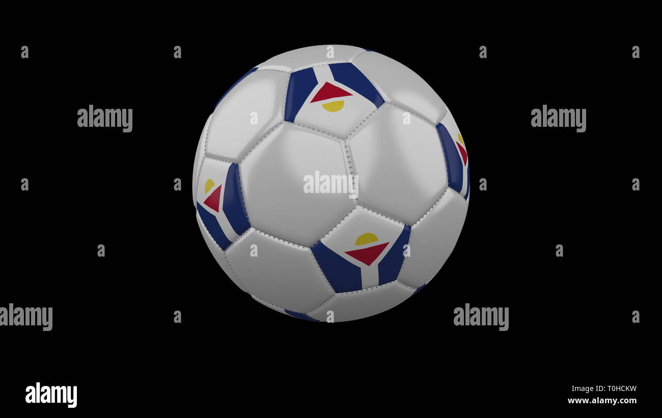 Soccer ball with flag Saint Martin colors rotates on black background, 3d rendering - Stock Image