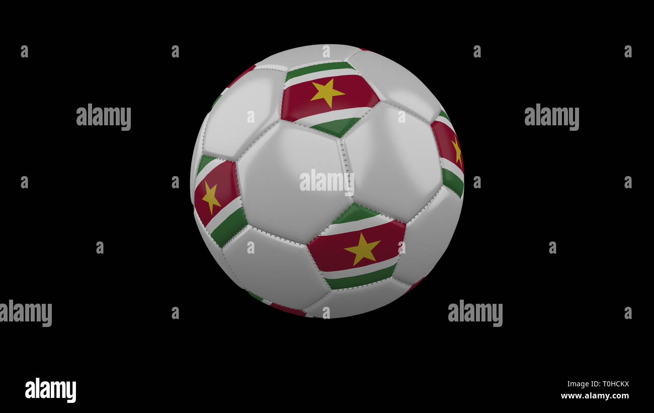 Soccer ball with flag Suriname colors rotates on black background, 3d rendering - Stock Image