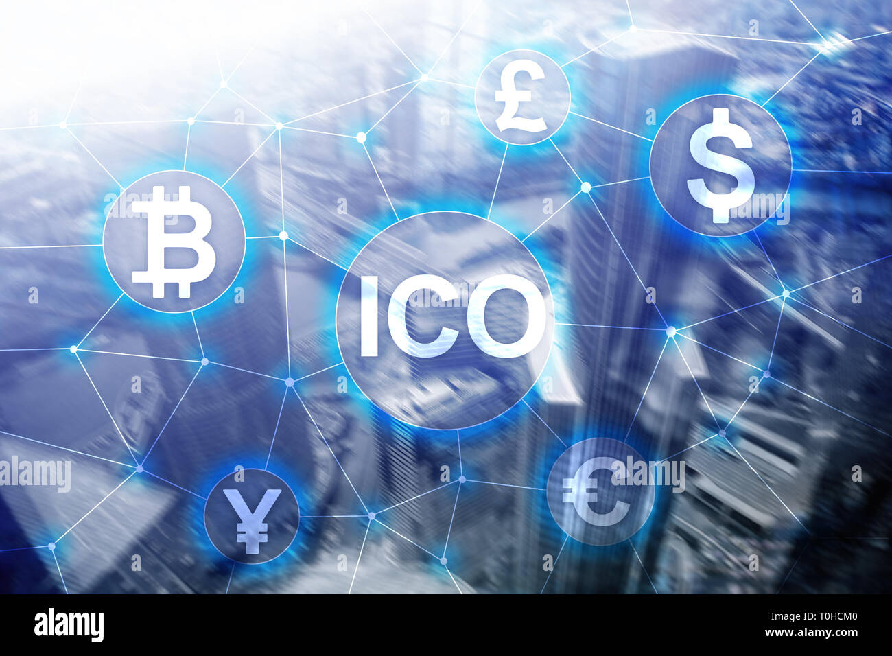 ICO - Initial coin offering, Blockchain and cryptocurrency concept on blurred business building background. - Stock Image