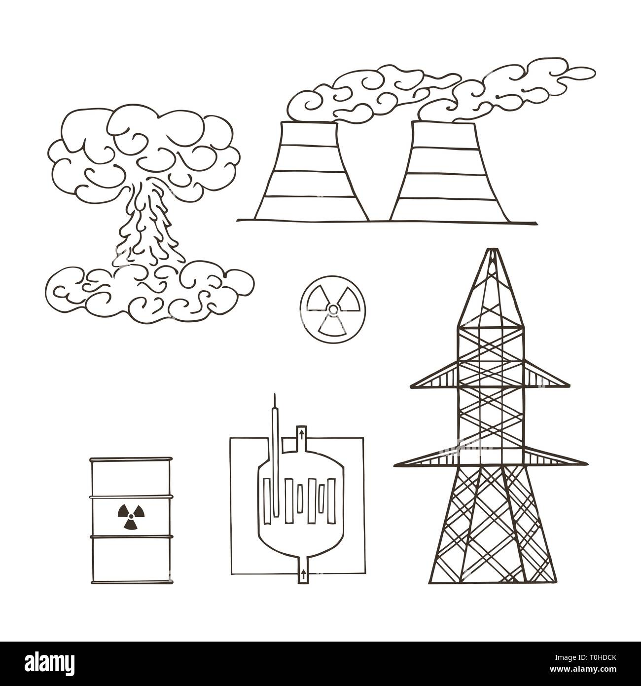 Nuclear power plant. Toxic waste. Environmental pollution. Vector illustration - Stock Vector