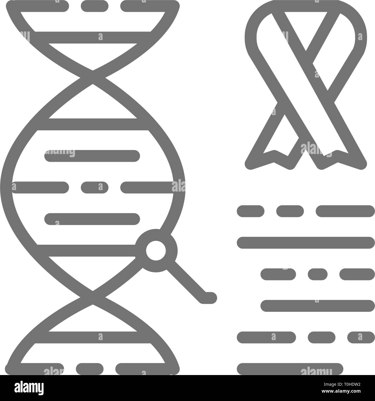 Dna molecule with cancer cells, malignant tumor, oncology line icon. - Stock Image