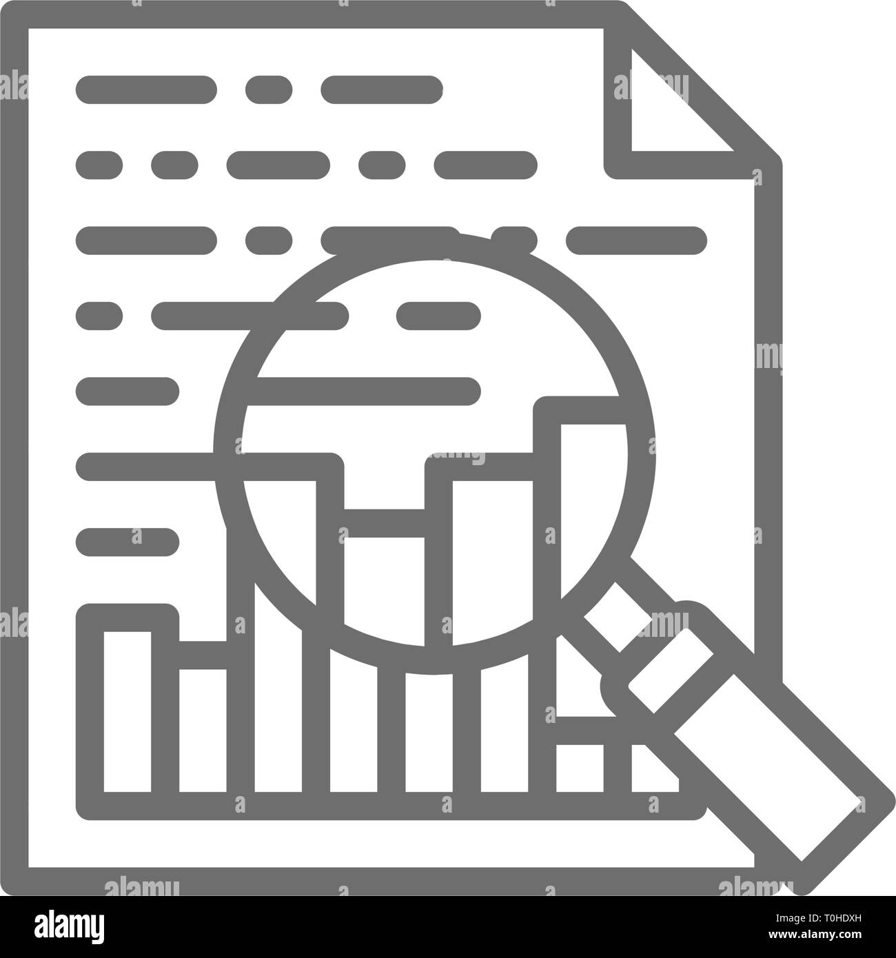 Charts and graphs, company presentation, document with statistic and magnifying glass line icon. - Stock Image
