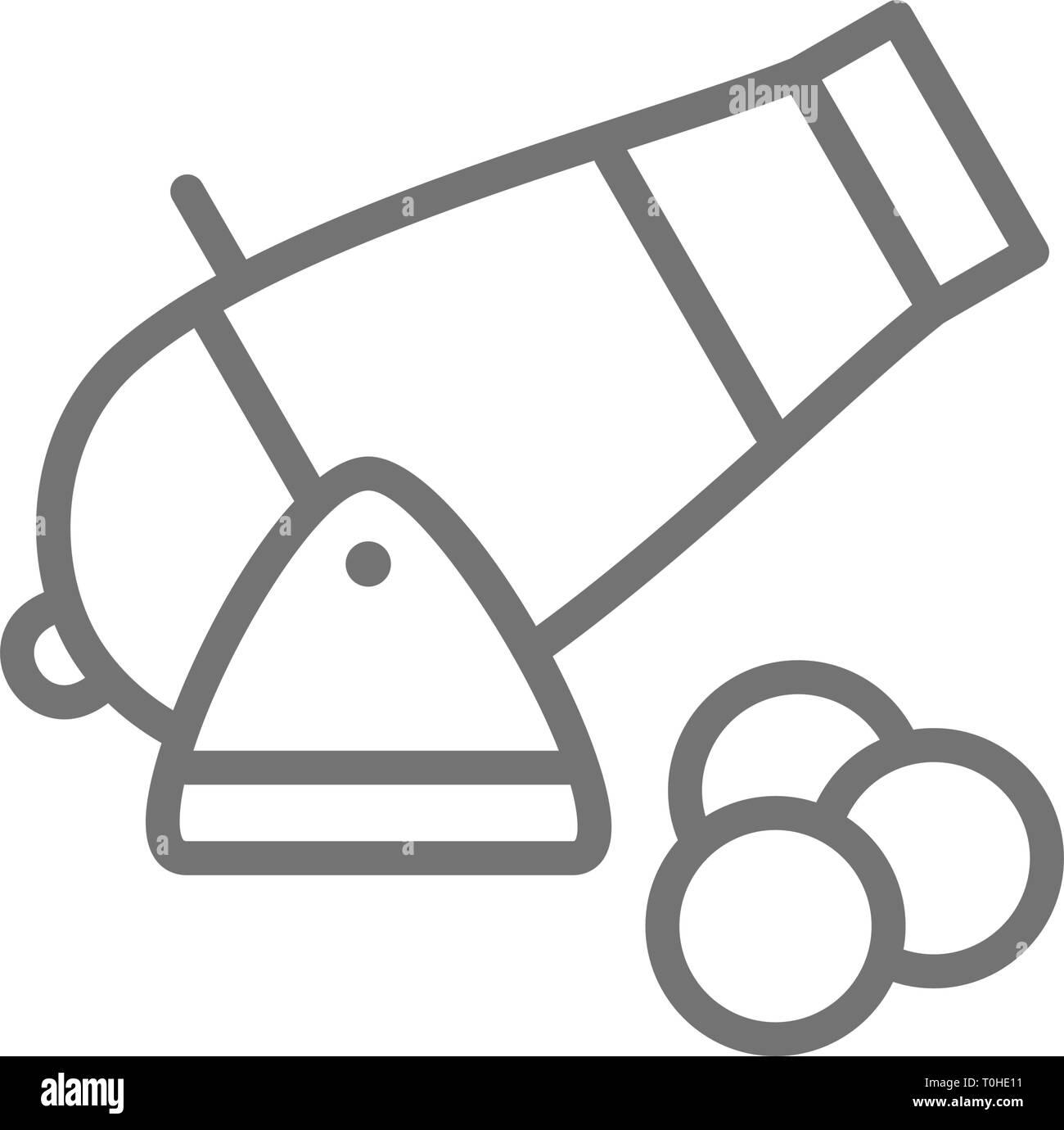 Cannon, artillery gun, antique weapon line icon. - Stock Vector