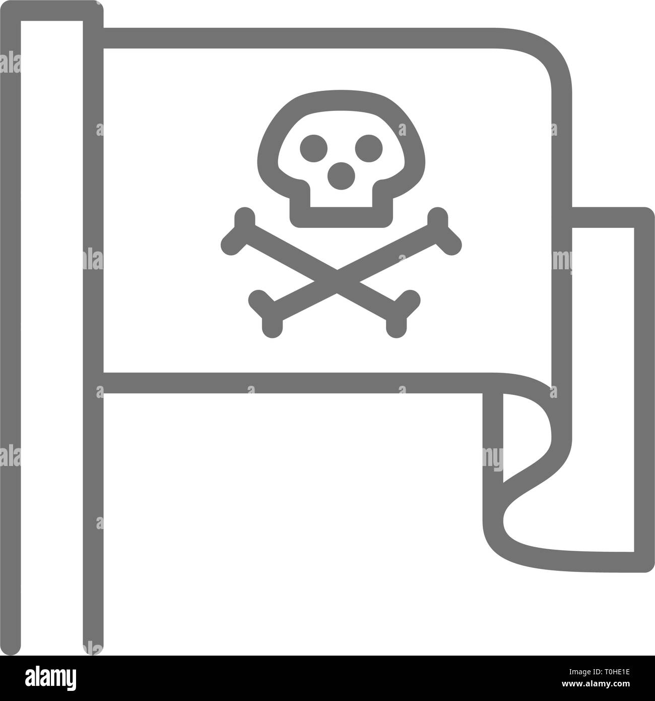 Pirate flag, Jolly Roger line icon. - Stock Image