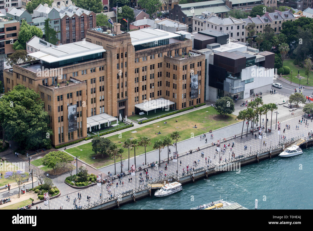 The Museum of Contemporary Art, Sydney (MCA) is an inter-war building housing the Maritime Services Board until 1988. It reopened as a museum in 1991 - Stock Image