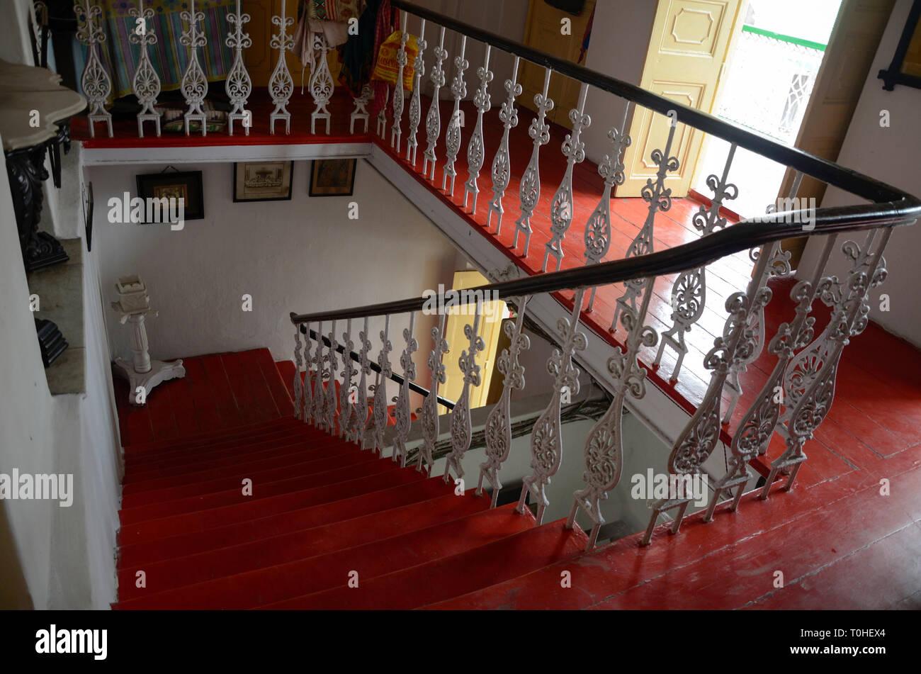 Cast iron railings of stairs, Kolkata, West Bengal, India, Asia - Stock Image