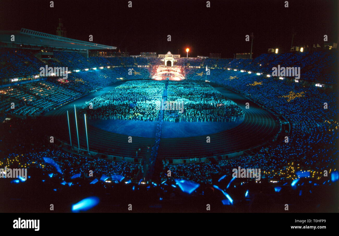 sports, XXV. Olympic Games, opening ceremony, Barcelona, 1992, Additional-Rights-Clearance-Info-Not-Available - Stock Image