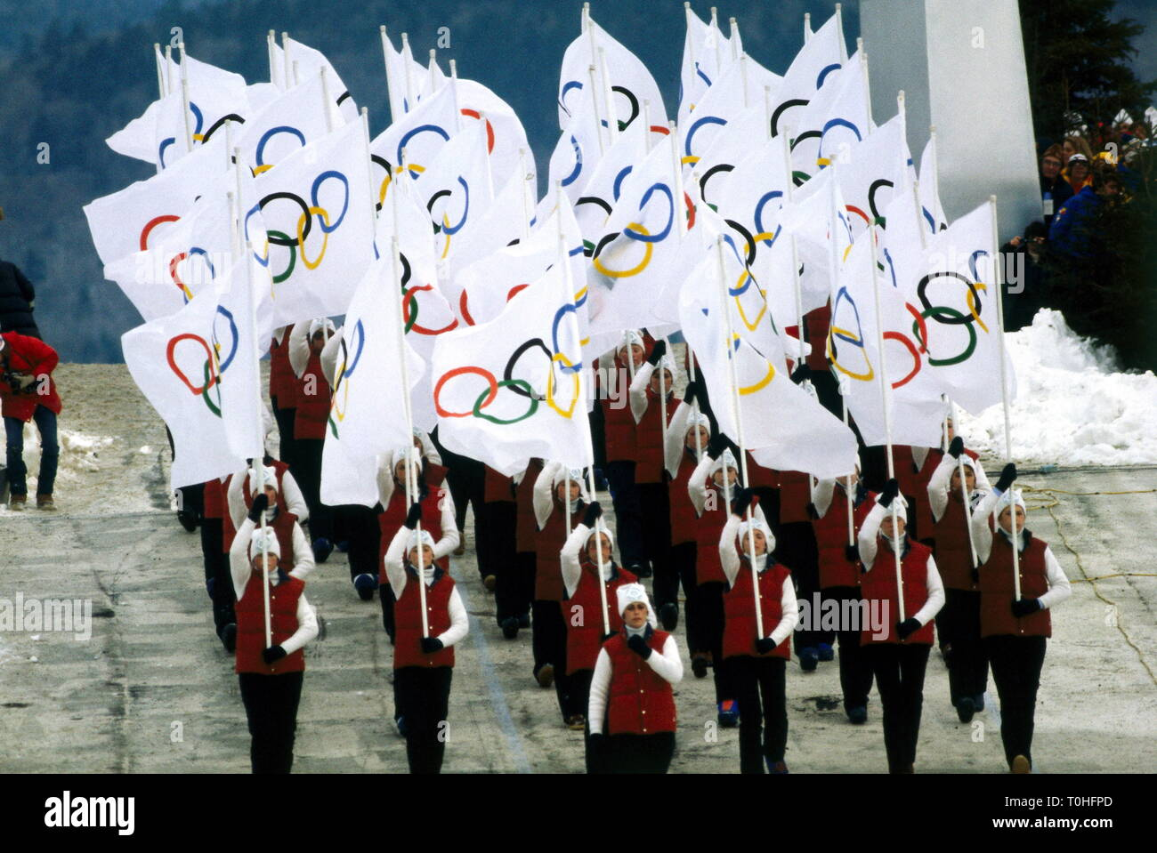 sports, XIII. Olympic Games, Lake Placid, opening ceremony, 1980, Additional-Rights-Clearance-Info-Not-Available Stock Photo