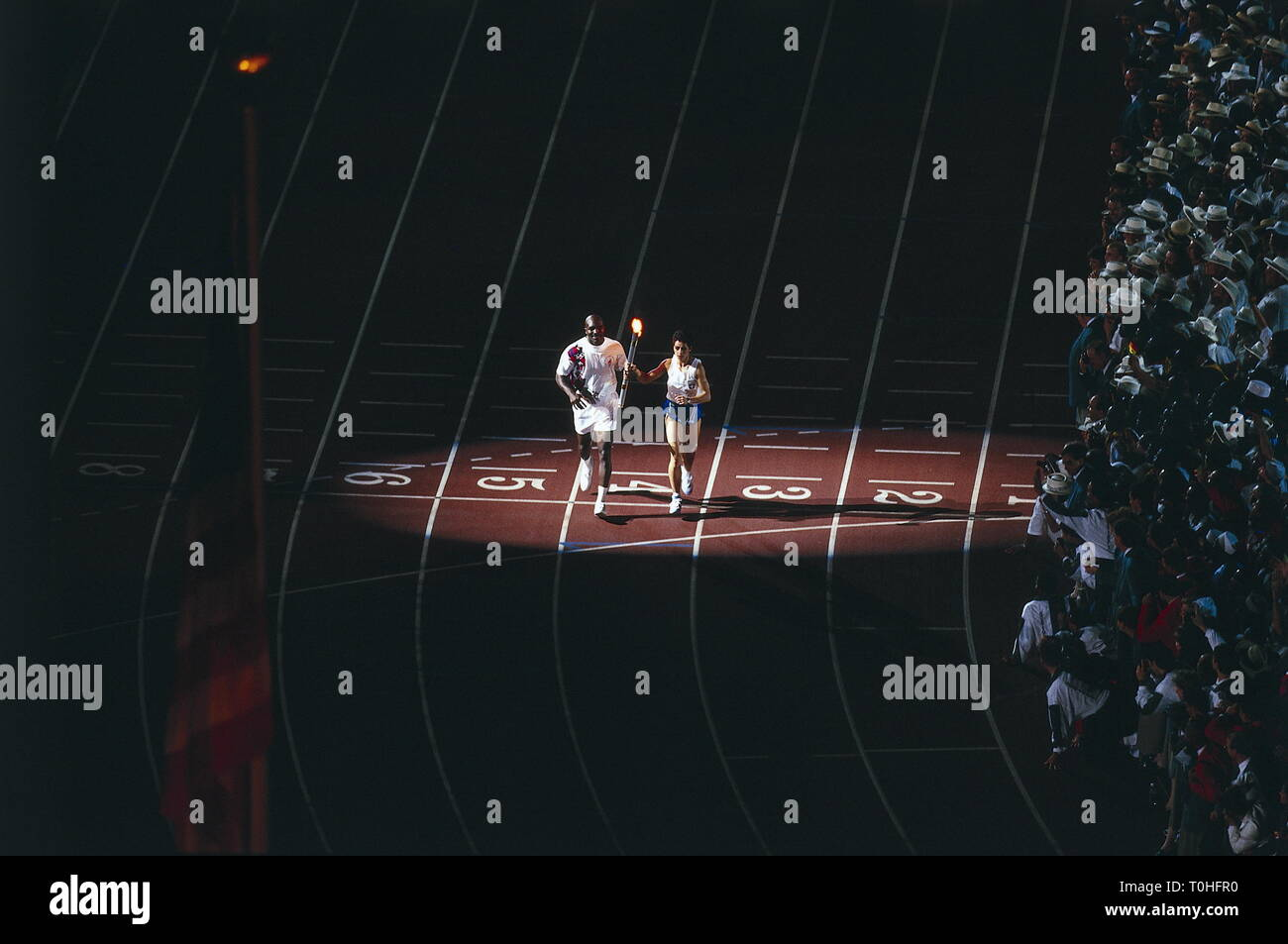 sports, XXVI Olympic Games, Atlanta, opening ceremony, Evander Holyfield with the Olympic torch, 1996, Additional-Rights-Clearance-Info-Not-Available - Stock Image