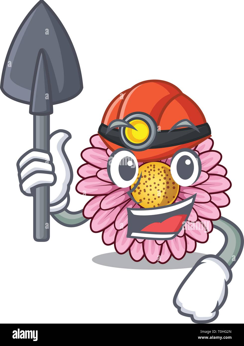 Miner gerbera flower isolated in the cartoon - Stock Image