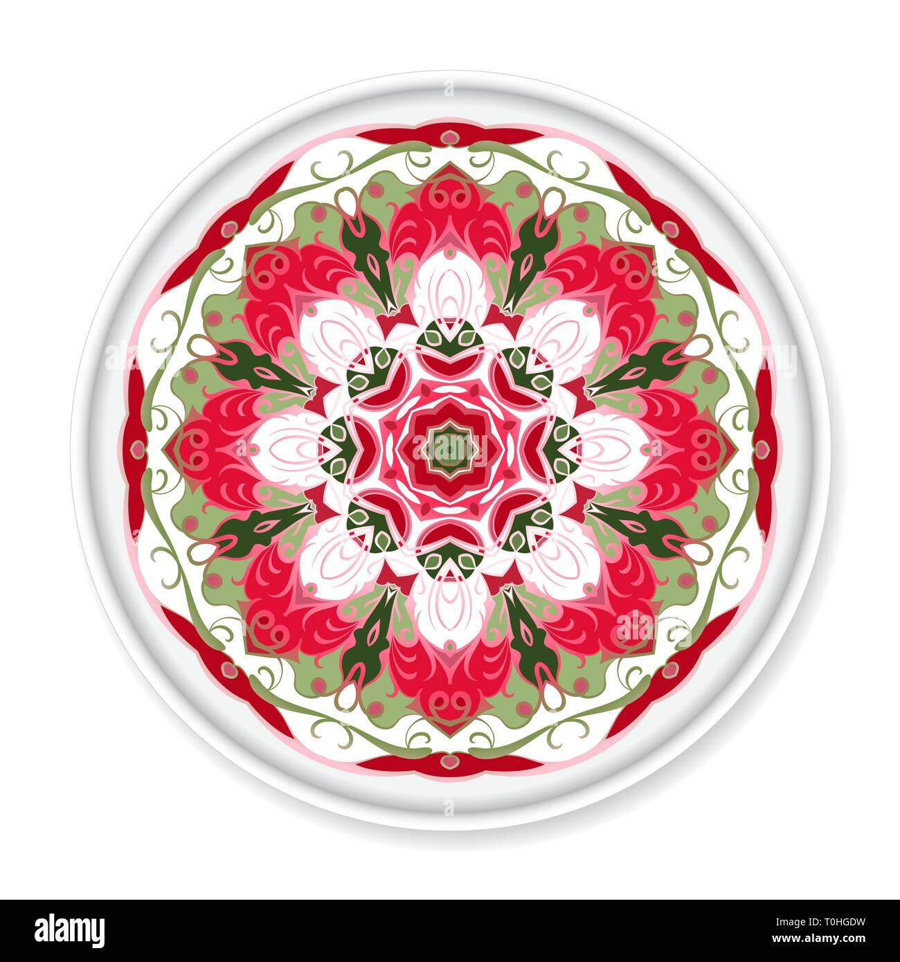 Colorful decorative plate with pattern on white background. Home ...