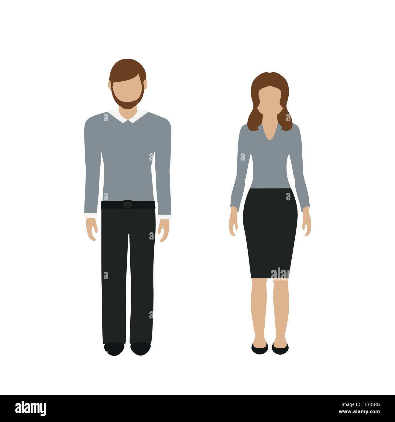 man and woman character in casual business look isolated on white background vector illustration EPS10 - Stock Image