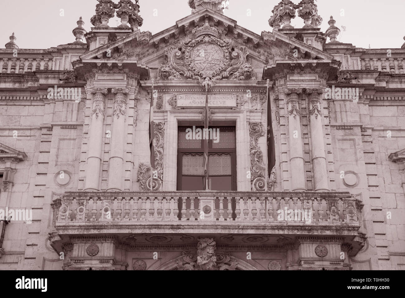 Fabrica Real de Tabacos; Seville; Spain in Black and White Speia Tone - Stock Image