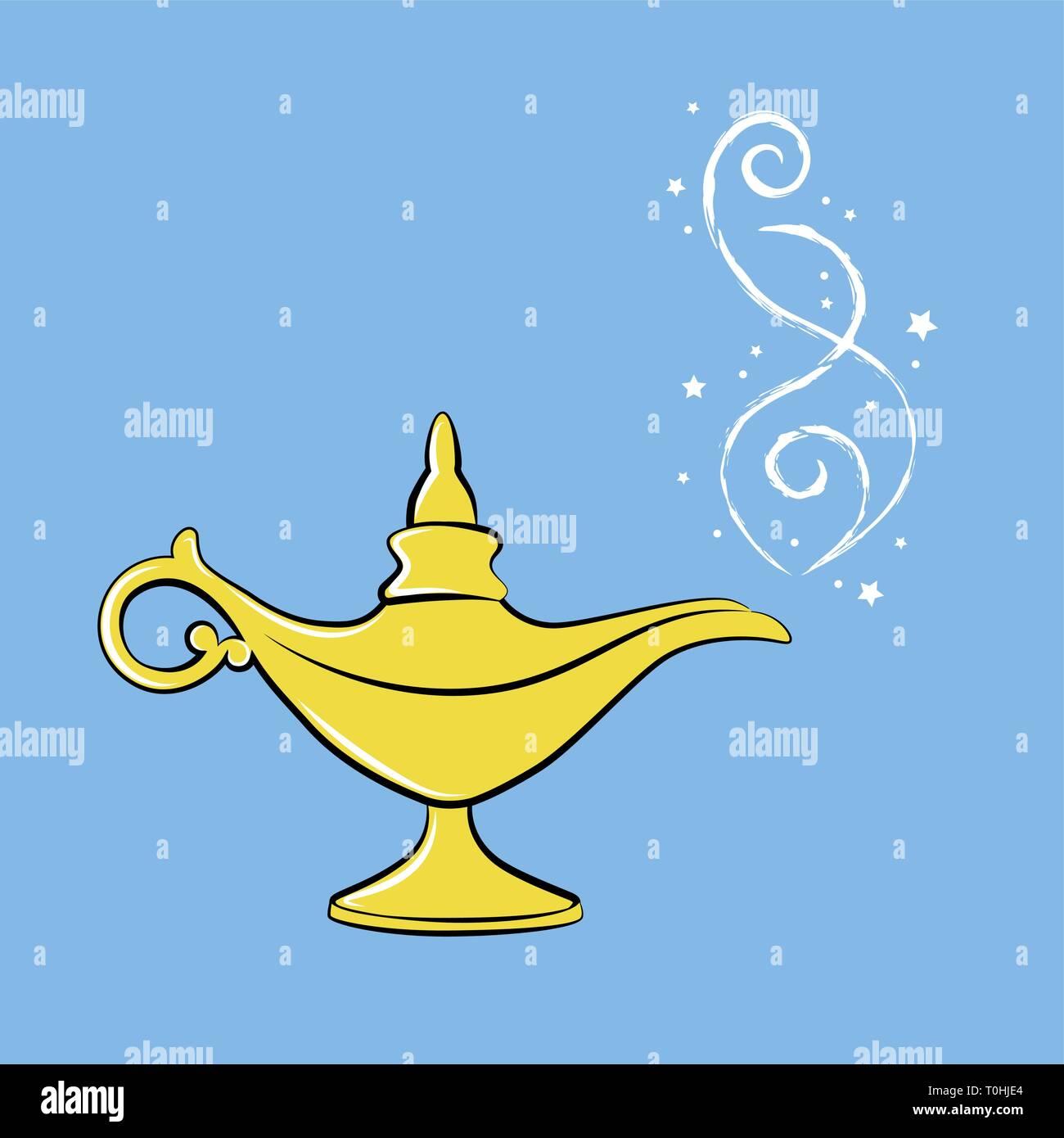 golden magic lamp arabian fairy tale three wishes vector