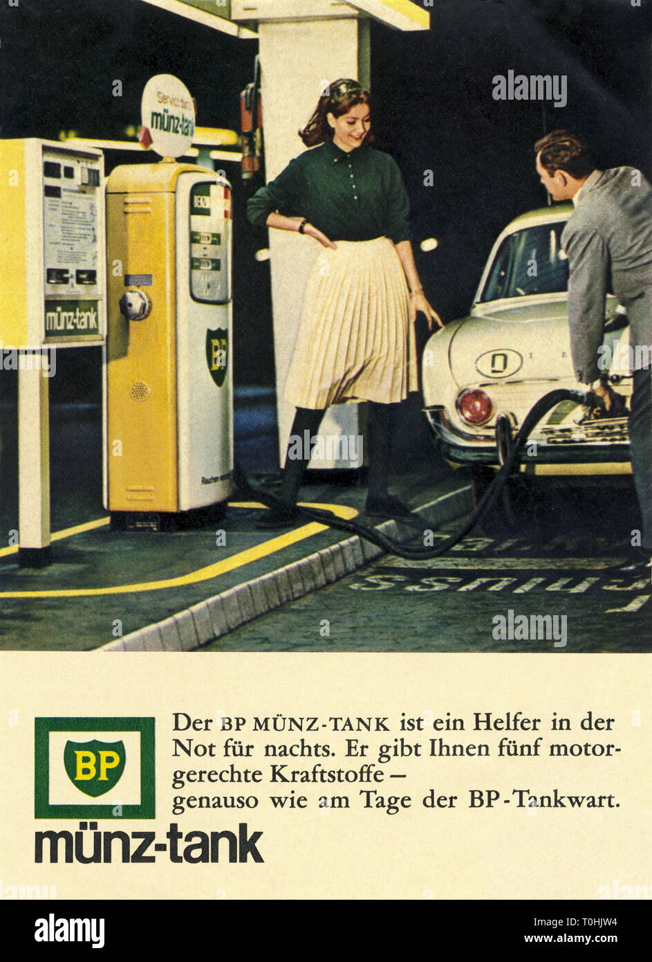 advertising, transport / transportation, car, petrol station, advertising for BP coin tank, at night fuel, couple with Ford Taunus, Germany, 1965, Additional-Rights-Clearance-Info-Not-Available Stock Photo