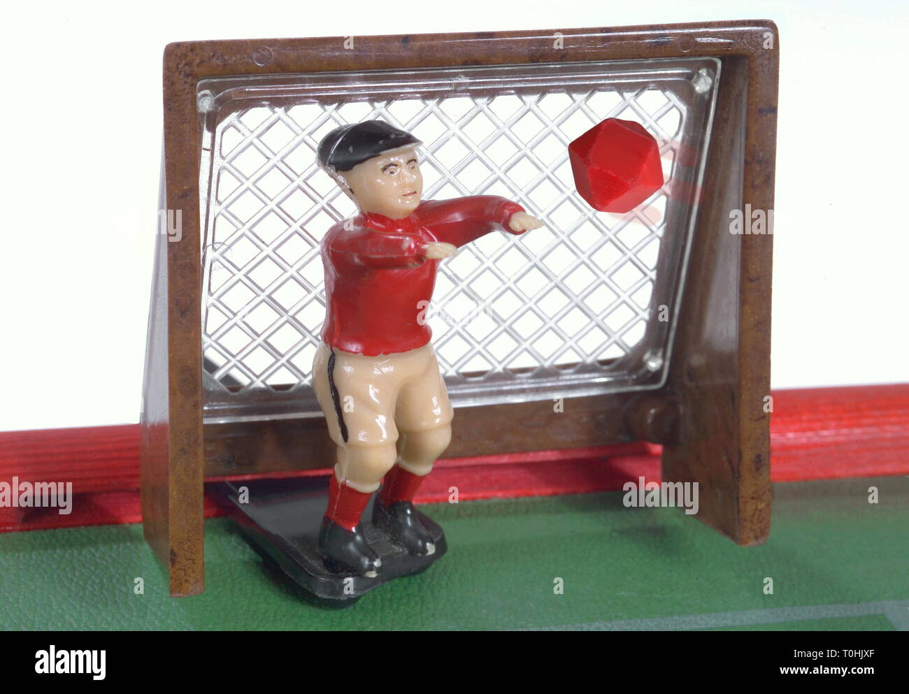 toys, goal with keeper, made by VEB Plastik-Werk Berlin, East-Germany, 1960, Additional-Rights-Clearance-Info-Not-Available - Stock Image