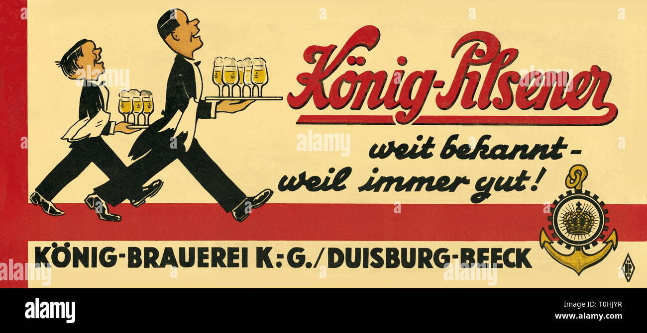 advertising, beverages, beer, Koenig Pilsener, 'weit bekannt weil immer gut!', Koenig Brewery, Duisburg-Beeck, advertising panel, Germany, 1948, Additional-Rights-Clearance-Info-Not-Available - Stock Image