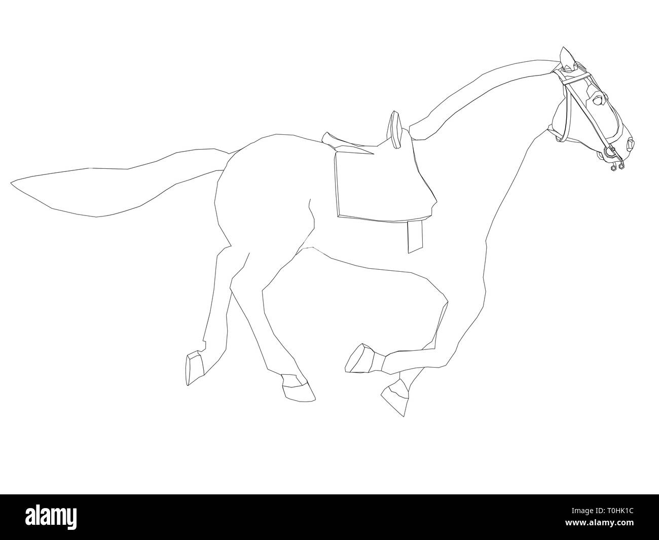 Contour Of A Running Horse On A White Background Vector Illustration Stock Vector Image Art Alamy