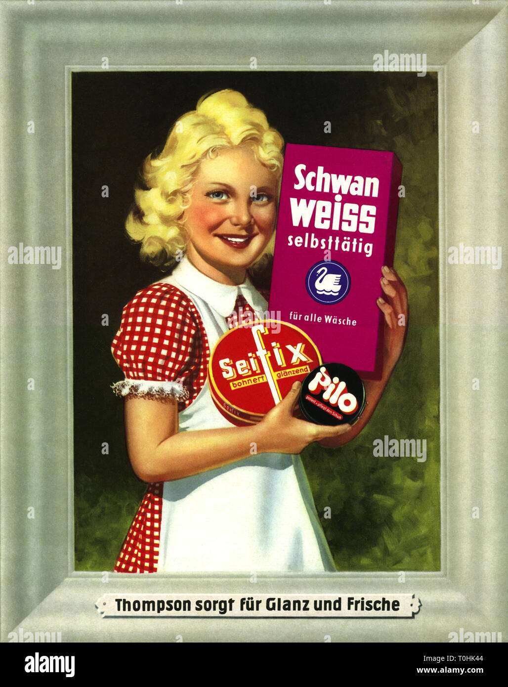 advertising, household, young girl with washing powder, Thompson Company, 'Schwanweiss', floor wax 'Seifix', shoe cream 'Pilo', slogan: 'Thompson sorgt für Glanz und Frische', Düsseldorf, Germany, circa 1938, Additional-Rights-Clearance-Info-Not-Available - Stock Image