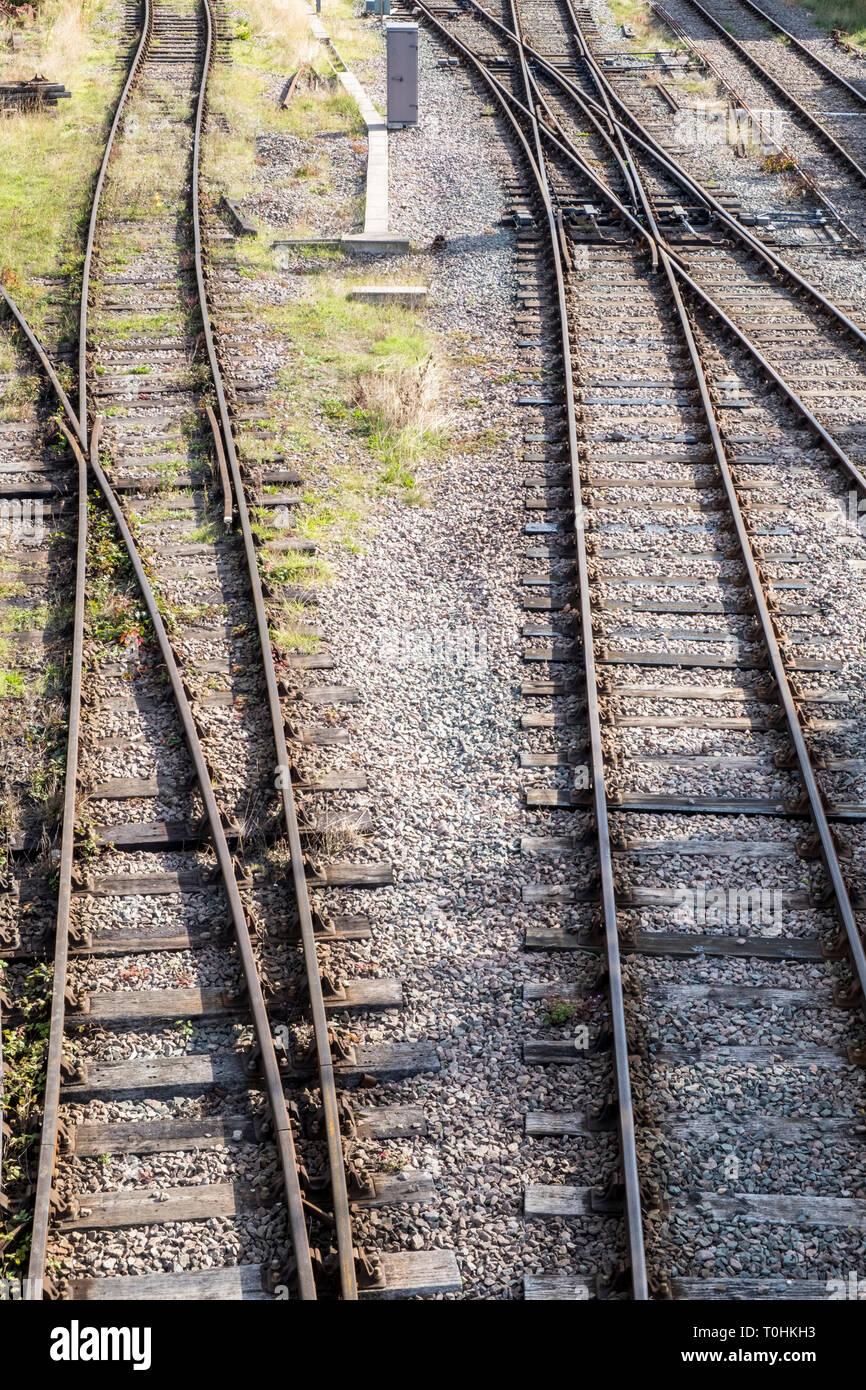 Railway tracks, Nottinghamshire, England, UK - Stock Image