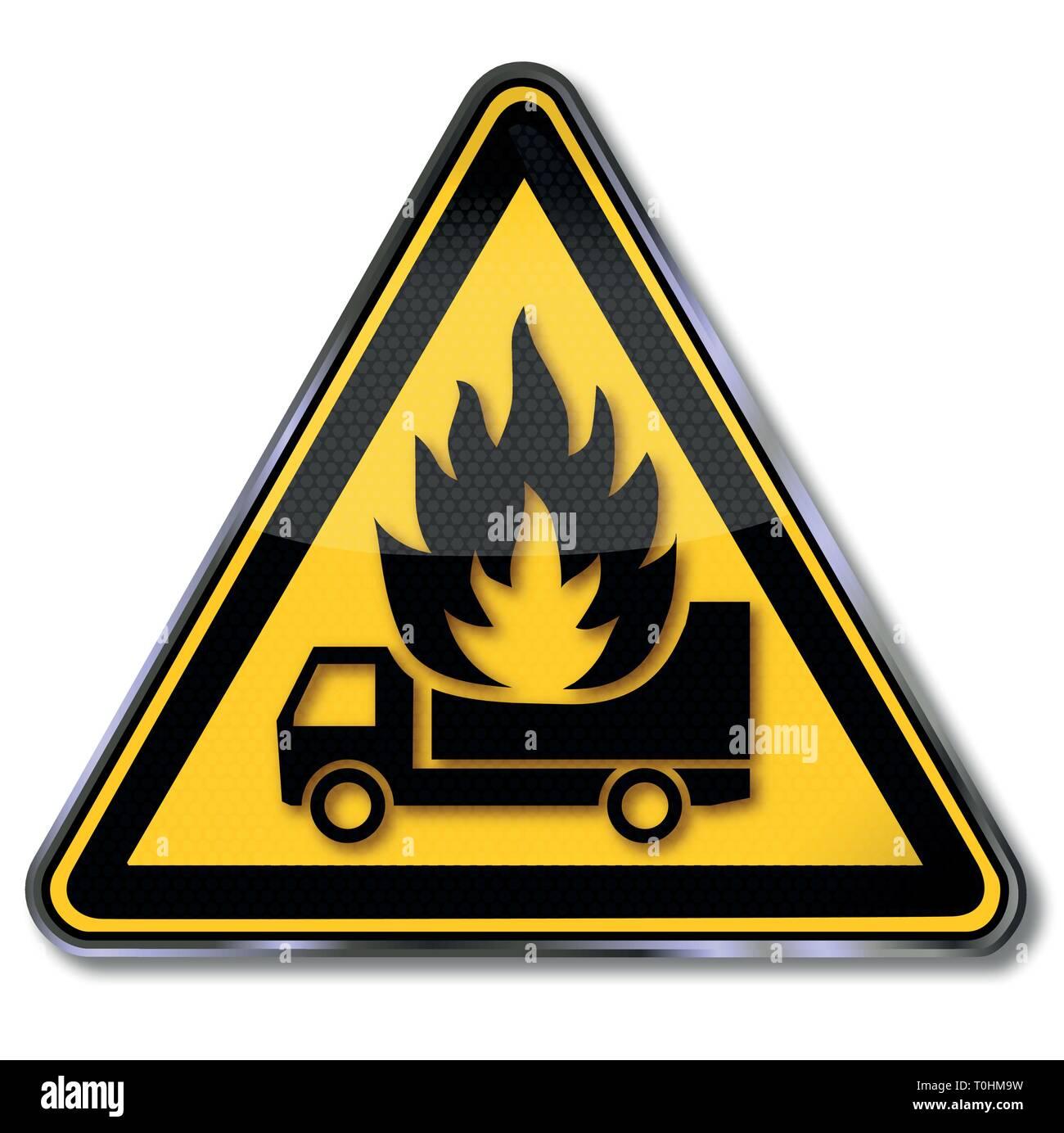 Danger sign warning truck under fire - Stock Vector