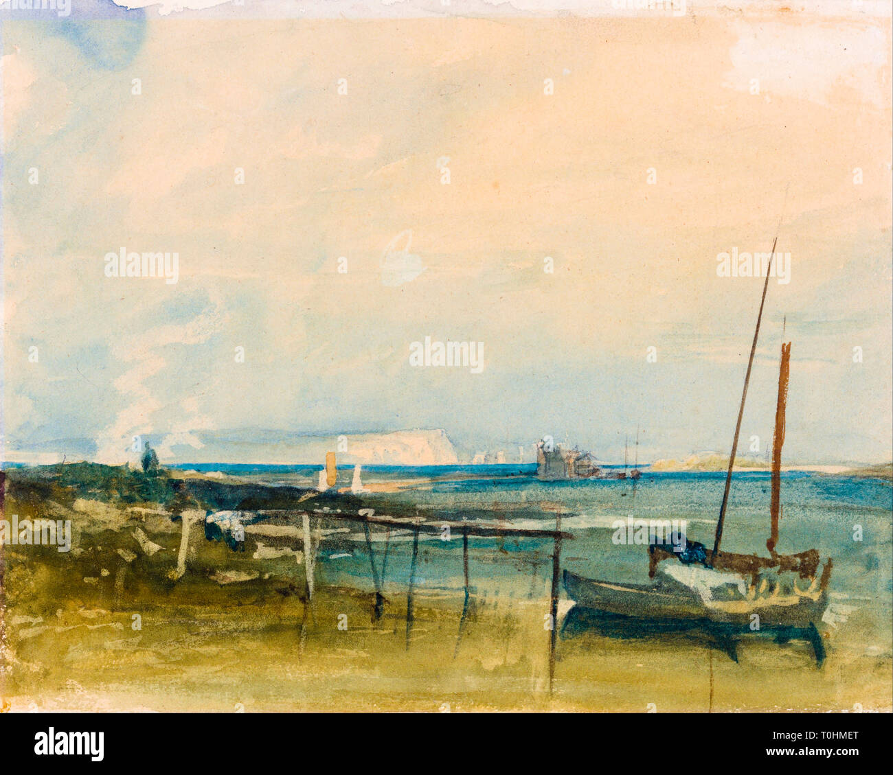 JMW Turner, Coast Scene with White Cliffs and Boats on Shore, watercolour painting - Stock Image