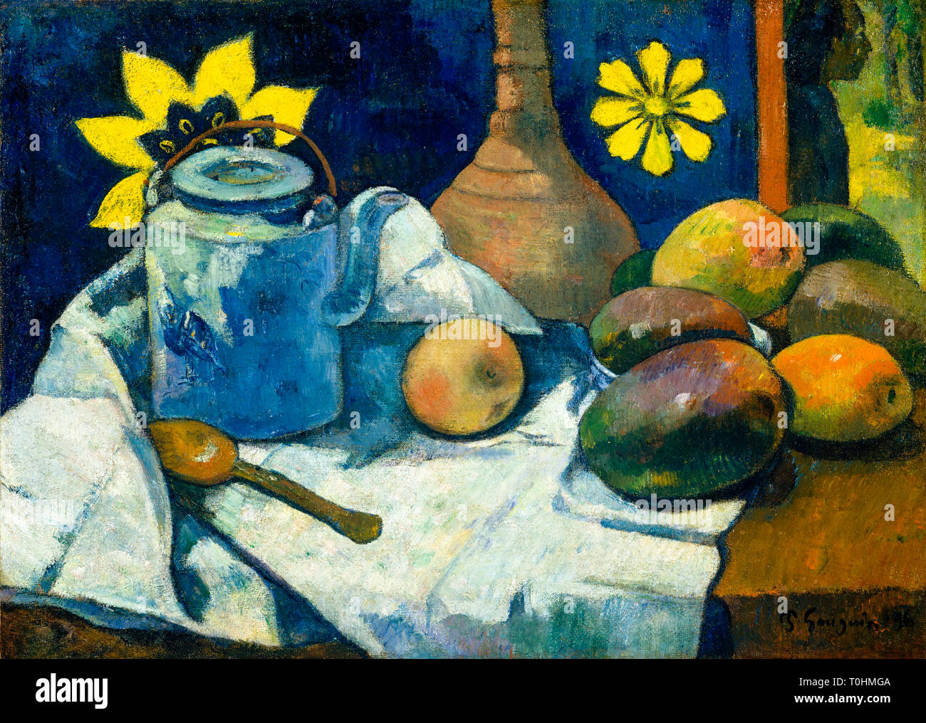 Paul Gauguin, Still Life with Teapot and Fruit, painting, 1896 - Stock Image
